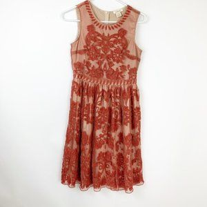 Sundance Flocked orange lace victorian dress